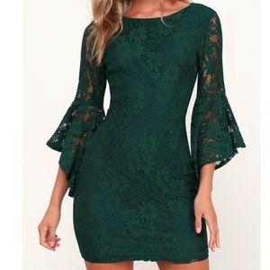 Lulu's Forrest Green Lace Flounce Sleeve Dress